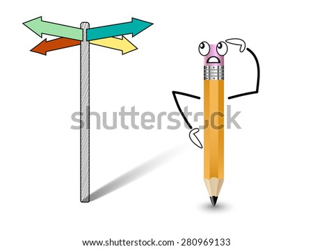Cheerful pencil at a crossroads, decides which direction - stock photo