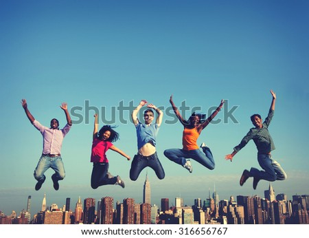 Cheerful People Jumping Friendship Happiness City Concept - stock photo