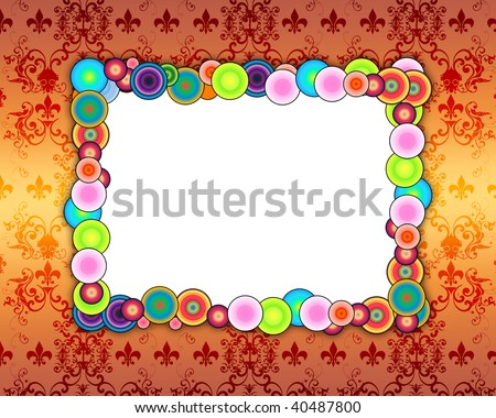 Cheerful Photo Frame on Pattern Background - stock photo