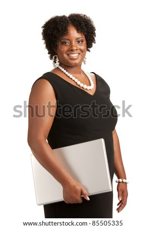 Cheerful Plus Size Businesswoman Holding Laptop Computer Standing Isolated on White Background - stock photo