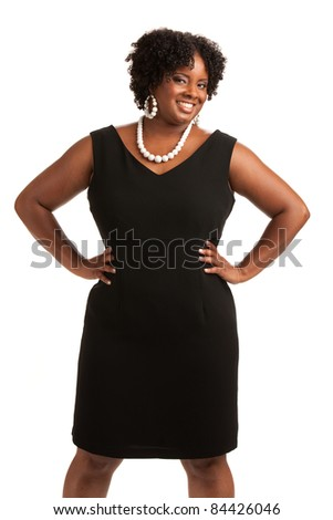 Cheerful Plus Size Businesswoman Standing Isolated on White Background - stock photo