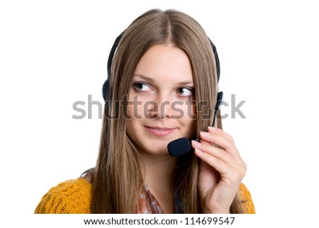 Cheerful professional call center operator, white background - stock photo