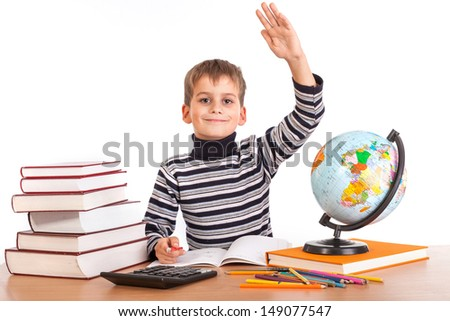 Cheerful Schoolboy ready to answer question isolated on a white background - stock photo
