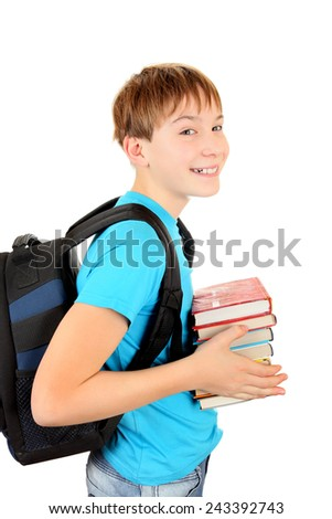 Cheerful Schoolboy with the Books Isolated on the White Background - stock photo