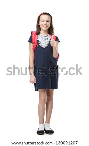 Cheerful schoolgirl with the briefcase shows that it's cool to study, isolated, white background - stock photo