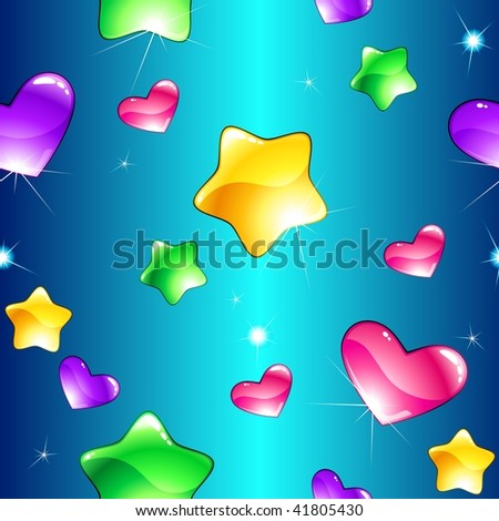 Cheerful seamless pattern with shiny hearts and stars (JPG); a vector version is also available - stock photo