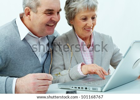 Cheerful senior couple using a laptop - stock photo