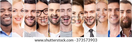 Cheerful smile. Collage of diverse multi-ethnic young people expressing positive emotions and smiling - stock photo