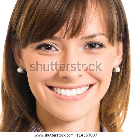 Cheerful smiling business woman, isolated over white background - stock photo