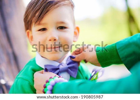 Cheerful smiling little boy - stock photo