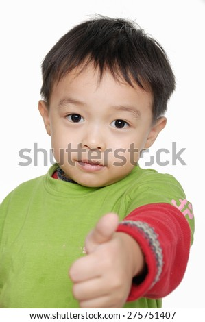 cheerful smiling little boy raised his hands up - stock photo