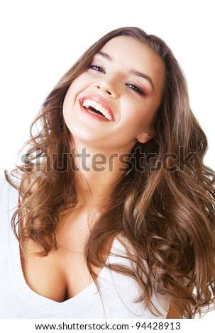 cheerful smiling woman on white background - stock photo