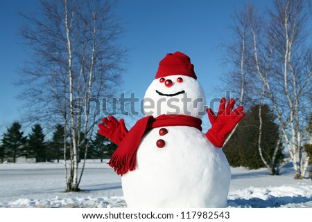 Cheerful snowman all dressed up for the cold weather - stock photo