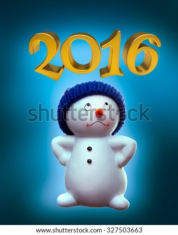 Cheerful snowman and 2016 on blue winter background - stock photo
