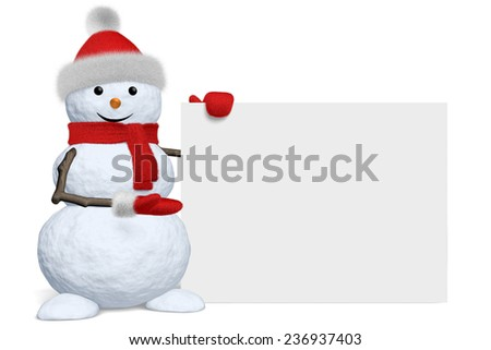Cheerful snowman shows blank white board in red fluffy hat, scarf and mittens isolated on white background, 3d illustration - stock photo