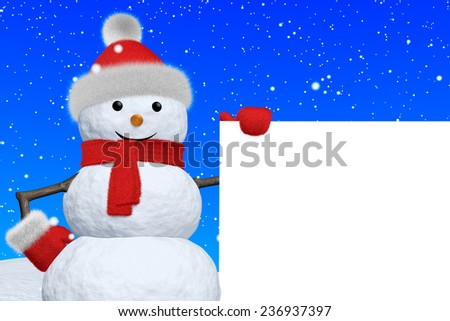 Cheerful snowman with blank white board in red fluffy hat, scarf and mittens on snow under snowfall, 3d illustration - stock photo