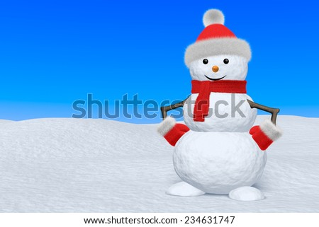 Cheerful snowman with red fluffy hat, scarf and mittens on snow under blue sky, 3d illustration with copy-space - stock photo