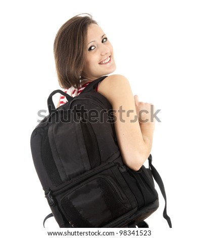 cheerful student girl with black backpack, white background - stock photo