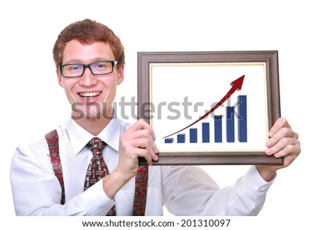 cheerful successful  businessman holding a chart showing his profits  - stock photo