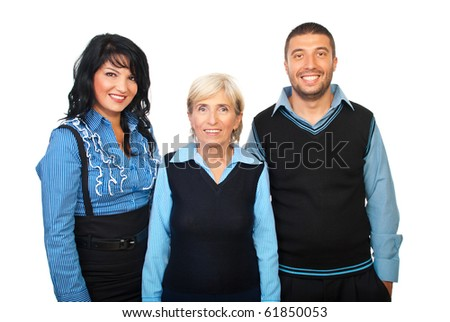 Cheerful teamwork in blue formal clothes smiling  and standing in a row isolated on white background - stock photo