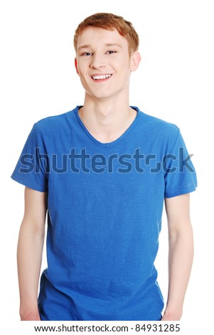 Cheerful teen boy isolated on white background - stock photo