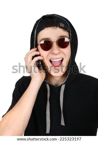 Cheerful Teenager with Cellphone Isolated on the White Background - stock photo