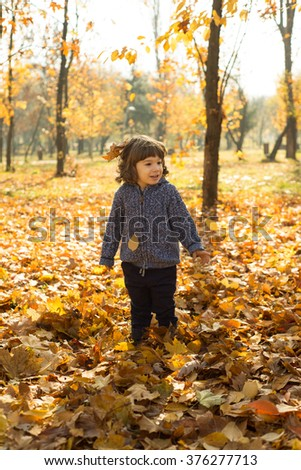 Cheerful toddler boy in autumn park with maples leaves around him - stock photo