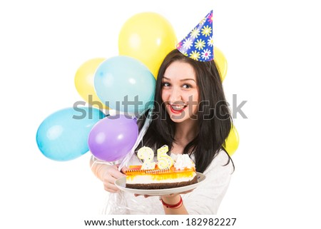 Cheerful woman celebrate her birthday isolated on white background - stock photo