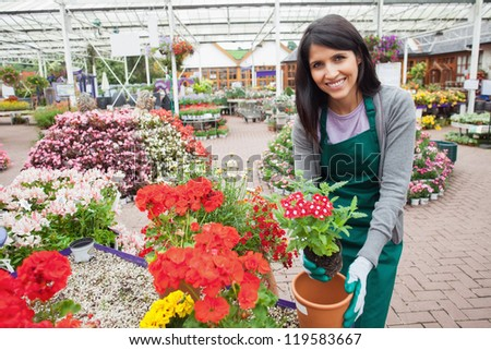 Cheerful woman planting a flower in a flower pot in garden centre - stock photo