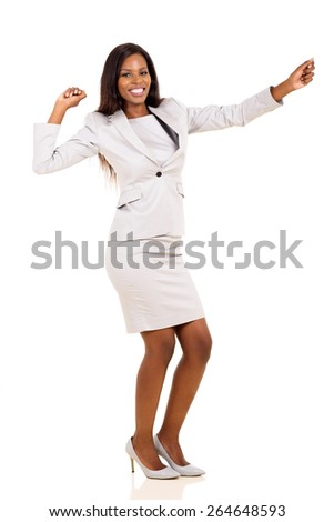 cheerful young african american businesswoman dancing isolated on white background - stock photo