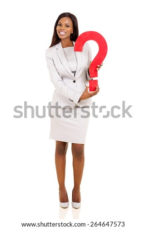 cheerful young african american businesswoman holding question mark  - stock photo