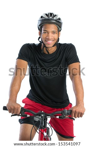 Cheerful Young African American Male Riding Bike Isolated on White Background - stock photo