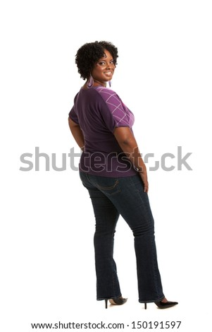Cheerful Young African American Plus Size  Woman Full Body Length Portrait on White Background Isolated - stock photo