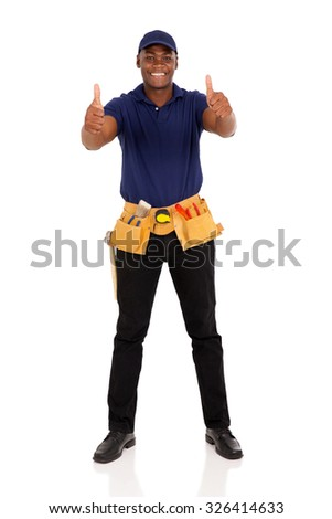 cheerful young afro american handyman giving thumbs up on white background - stock photo
