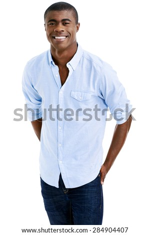 cheerful young black african man smiling with casual clothing - stock photo