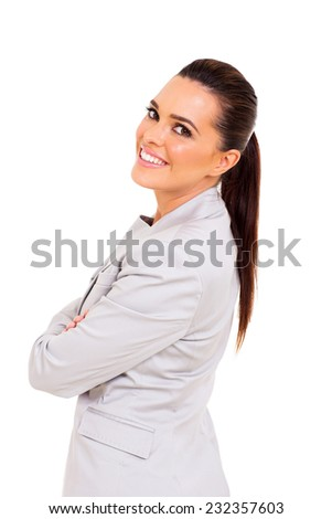 cheerful young business woman on white background - stock photo
