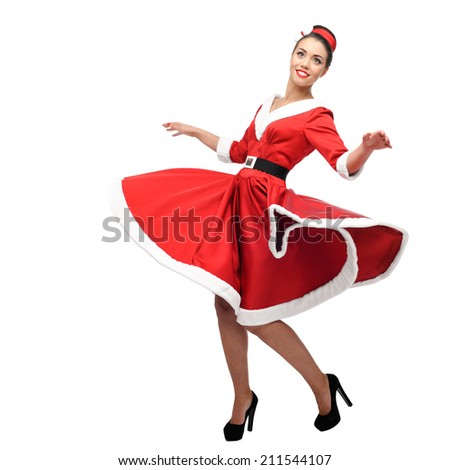 cheerful young caucasian woman in red vintage clothing dancing isolated on white - stock photo