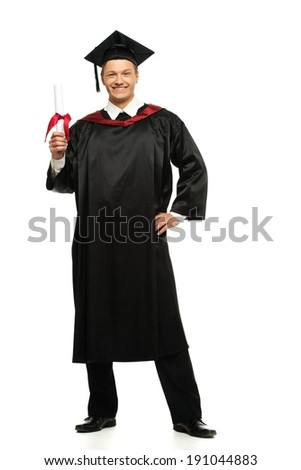 Cheerful young graduated student man isolated on white  - stock photo