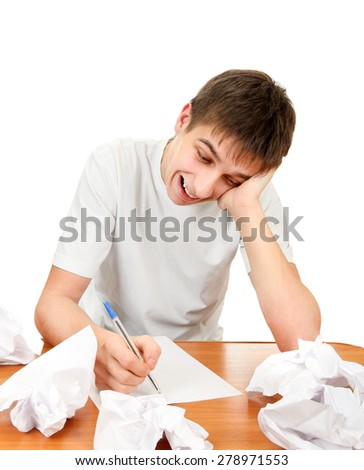 Cheerful Young Man compose a Letter on the White Background - stock photo