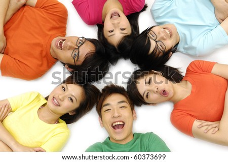 Cheerful young people having fun summer holidays. - stock photo