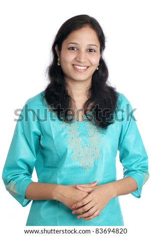 Cheerful young woman against white - stock photo
