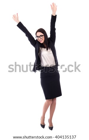 cheerful young woman in business suit isolated on white background - stock photo