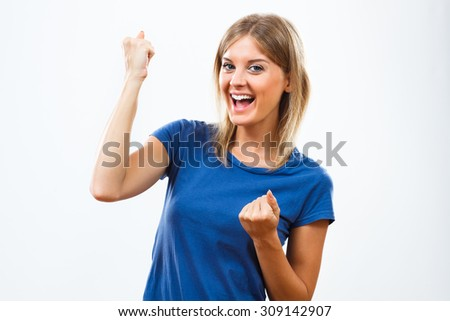 Cheerful young woman is happy because of something.Happy woman - stock photo