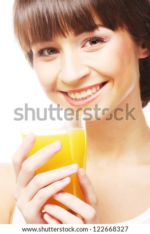 cheerful young woman with orange juice, isolated on white - stock photo