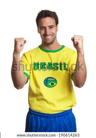 Cheering brazilian soccer fan  - stock photo