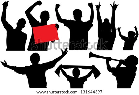 Cheering crowd or sports fans silhouettes. Raster version - stock photo