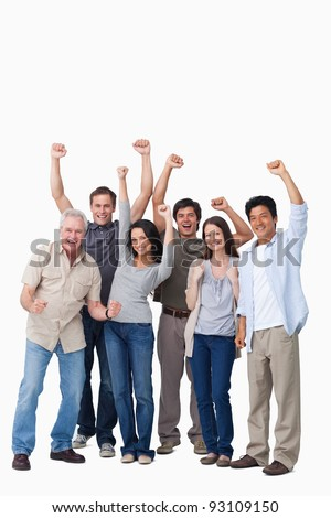 Cheering group of people against a white background - stock photo