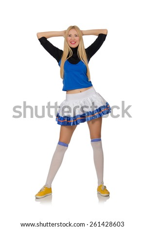Cheerleader isolated on the white background - stock photo