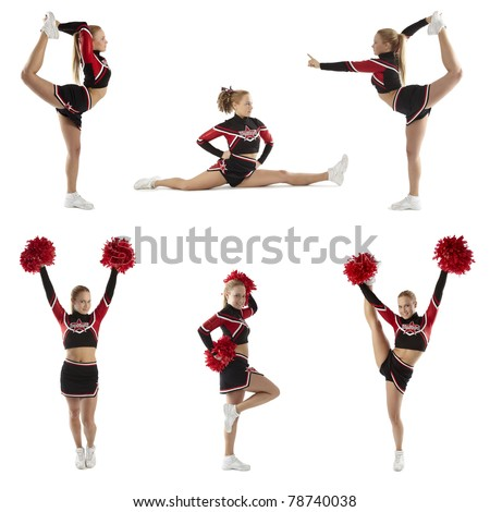 Cheerleader shows different poses - stock photo