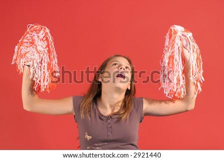cheerleader up - stock photo